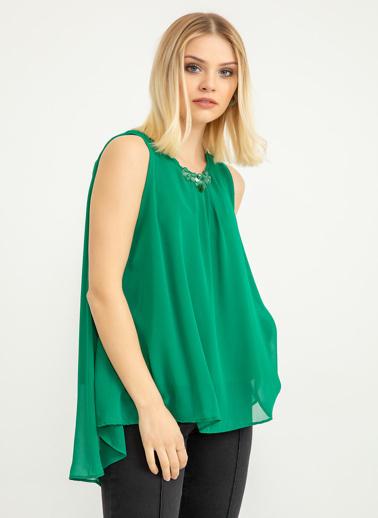 Foremia Yaka Aksesuarlı Şifon Bluz Yeşil
